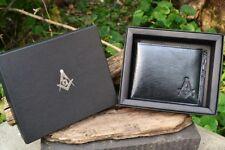 Masonic Black Leather Bi-Fold Wallet - Mason - Embossed Square and Compasses