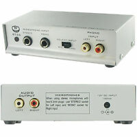 Pre-Amplifier -6.35mm Microphone/Phono to Stereo RCA -Preamp Turntable Amp -BT26
