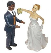 WEDDING CAKE TOPPERS DECORATION BRIDE GROOM BLACK WHITE MIXED RACE PAIR COUPLE