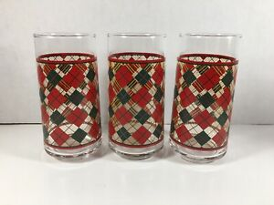 Set Of 3 Red And Green Plaid Tumblers~ Vintage