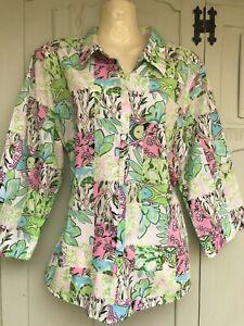 Orvis bright floral Cotton Shirt/Blouse - size 16