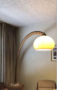 "Nova Oak/Brass Mid Century Vintage Arc Arch Floor Lamp 7ft Tall ""Great Shape"""