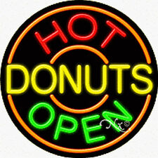 "BRAND NEW ""HOT DONUTS OPEN"" 26x26x3 REAL NEON SIGN W/CUSTOM OPTIONS 11319"