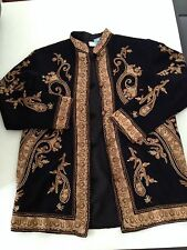 SOFT SURROUNDINGS Embroidered Black Jacket Retro Hippie Funky Art Wear Chic