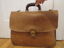 Vintage Mulholland Brothers Tan Leather Shoulder Bag Briefcase