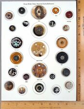 Card of 25 ANTIQUE BUTTONS, Natural HORN with Assorted Embellishments / OMEs