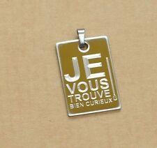 Pendentif anti-drague Médaille gravée pour femme avec message drole humour