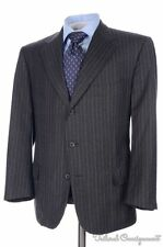 ISAIA Gray Striped Flannel Wool Jacket Pants SUIT Mens - EU 52 / US 42 R