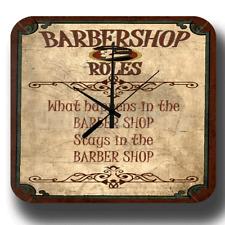 BARBERSHOP RULES VINTAGE RETRO BARBER SHOP METAL TIN SIGN STYLE WALL CLOCK