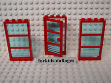"Lego City Windows & Door Lot-E Red Frames w/Blue ""Glass"" Hospital Fire Station+"