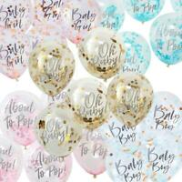 """Baby Shower Confetti Balloons   Gender Reveal Party Blue Pink Decoration x5 12"""""""