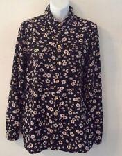 Women's Shirt New York & Company Button Front Size Medium Black Floral