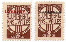 Sello Local Guerra Civil Pins del Valles -Cat. Guillamon 1057 y 1058.  ORD:850
