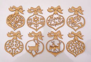 Christmas Wooden MDF Blank - 8 Ornamental Baubles with Bow each different theme