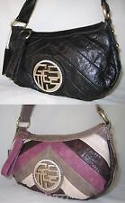 GUESS OYSTER Rhinestones Logo Banana Small Top Zip Bag Purse Handbag Sac New