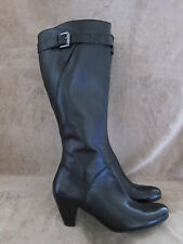 ECCO Hope Tall 65 MM Black Leather Zip Boots Shoes US 9 - 9.5 M EUR 40 NWOB
