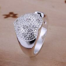 NEW Fashion Wedding silver lovely pretty women crystal heart ring NICE cute R27