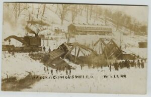 1910 era W & LE Railroad wreck bridge Conorsville Ohio Real Photo Postcard RPPC