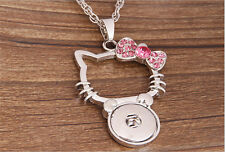 NEW Cat Pink Crystal Alloy Pendant for Fit Noosa Necklace Snap Chunk Button #R72