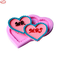 MR & MRS Love Heart Silicone Mold Wedding Cake Decoration Tool Chocolate Mold