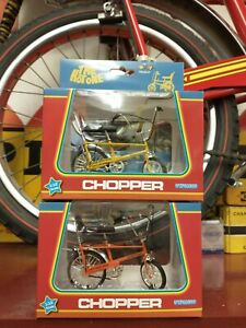 2 x Toyway Raleigh Chopper Mark 1 models 1/12 scale New YELLOW and ORANGE