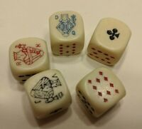 Lot of 5 Vtg Dice with Playing Cards Design Poker Dice B7