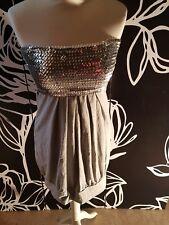 LongTop/Kleid grau silber Pailetten 38