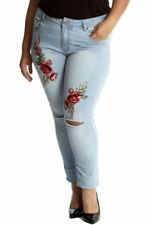 Straight Leg Floral Jeans for Women