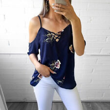 Womens Cold Shoulder Floral Summer Tops Ladies Loose Casual Blouse Tee T Shirt