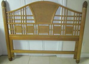 Full-Queen Headboard Bamboo Rattan Tommy Bahama Style Light Wood Tone