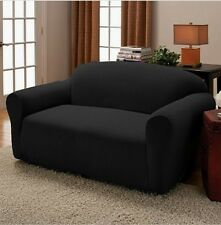 2 Piece  Black Stretch Couch Sofa + Loveseat Slip Cover New