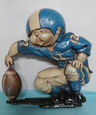 Homco metal football player #12 blue & white wall decor plaque vintage from set