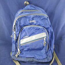 LL Bean Super Deluxe College School Backpack Dark Navy Book Bag Blue NMG Vintage