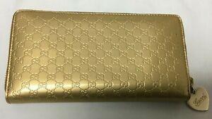 GUCCI Women's Logo Leather Gold Zip Around Wallet
