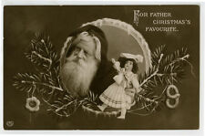 c 1910 Father Christmas Saint Nicholas Nick SANTA CLAUS cute DOLL photo postcard