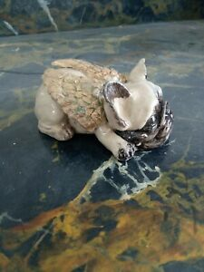 Sleeping Winged French Bulldog Hand Painted Stone cast Size10x5cm Fawn With...p