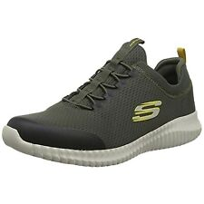 MENS SKECHERS ELITE FLEX BELBURN OLIVE BUNGEE LACE MEMORY FOAM SHOES 52529/OLV