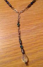Crystal Bead Y Necklace & Earrings