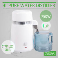 US 4L White Stainless Steel Pure Water Distiller Filter Distilled Water Purifier