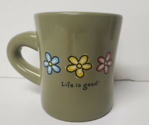 Life is Good Coffee Mug Green Pottery Daisies Flowers Blue Yellow Pink