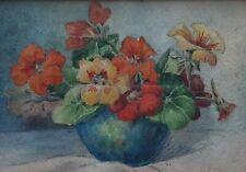 Aquarelle Blanche Odin 1865 1957 non signé fleurs capucines nature morte XIX