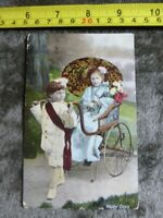 "1910 ""Happy Days"" POSTCARD Children posed Japanese Geisha in travelling chair"