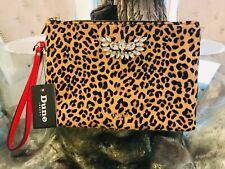 NEW DUNE LEOPARD ANIMAL PRINT PONY SKIN DIAMANTE CLUTCH BAG