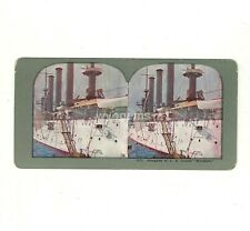 """Stereograph Card Navy Alongside of United States Cruiser """"Brooklyn""""  No. 1312"""