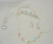 NEW Avon silver tone with pastel RS 3 pc set necklace,earrings & bracelet Spring
