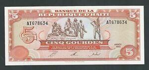 HAITI  5 GOURDES 1992  P- 261  UNC