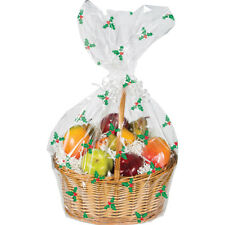 Christmas Clear & Holly Hamper Wrap cellophane Basket Gift Wrap Large Cello Bag