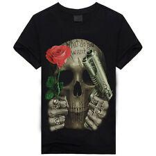 Mens Animal Shirts Skull Tiger Wolfs 3D Print Crew Neck Top Tee T Shirt XL A44