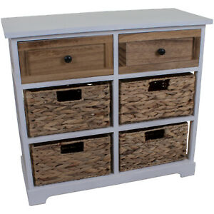 4 WICKER 2 WOODEN DRAWERS CHEST UNIT BEDSIDE TABLE BATHROOM STORAGE BASKET HOME