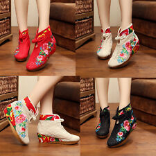 Womens Chinese Embroidered Floral Cloth Boots Breathable Lace Flat Shoes Casual